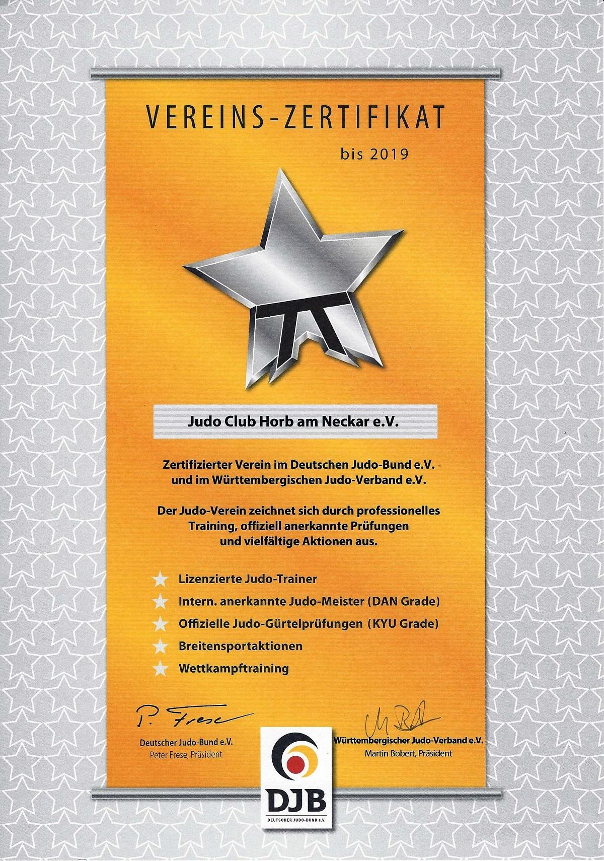 2016 Vereinszertifikat JCHorb